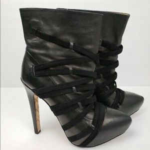 L.A.M.B Gwen Stefani Pipette Black Leather Booties